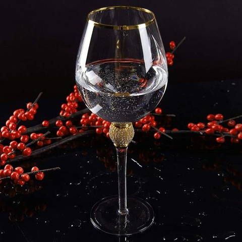 Luxurious Gold & Rhinestone Wine Glasses