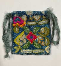 Load image into Gallery viewer, Embroidered Drawstring Pouch- Different Tides