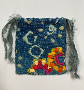 Embroidered Drawstring Pouch- Different Tides