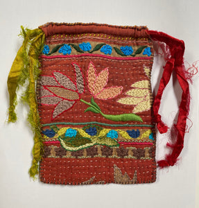 Embroidered Drawstring Pouch- Dusk and Dawn