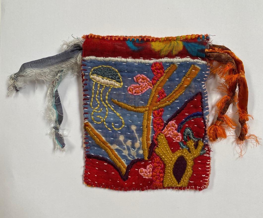 Embroidered Drawstring Pouch- Under the Sea