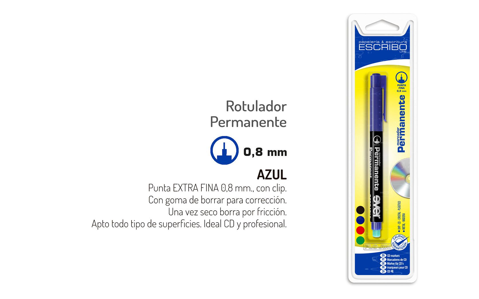 Blister Rotulador Permanente Multisuperficie (CD)- Azul