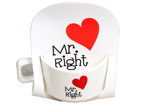 Taza San Valentín Mr. Right 6 cm. Regalo San Valentín