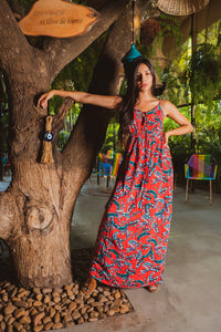 Vestido tropical largo