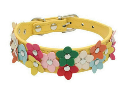 Dog Pet Cat Puppy Lovely Flower Leather Collars Neck Buckle Adjustable Buckle Sumait S Yellow