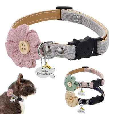 Personalized Cat Collar Quick Release Pet Cat Collars Safety Pet ID Tag Collar Adjustable Pet Accessories For Small Cats Kitten Sumait