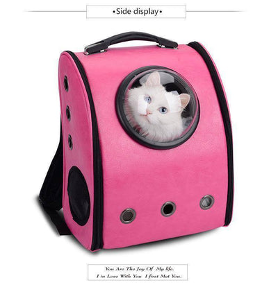 Pet Carrier Backpack, for Large 21 lbs Fat Cats and Medium 16 lbs Dogs Space Capsule Bubble Ventilation Hiking Traveling Foldable Cat and Dog Carrier Backpack Sumait Rose