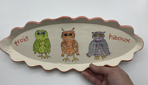Trois Hiboux (Three Owls) Scalloped Platter