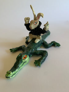 Bunny & Alligator Sculpture