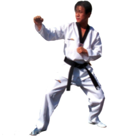 Pro Medium Weight - White w/ Black Trim TaeKwonDo Uniform - BlackBeltShop