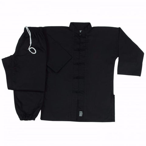 Black with Black frogs kung fu uniform set All Sizes 1350 - BlackBeltShop