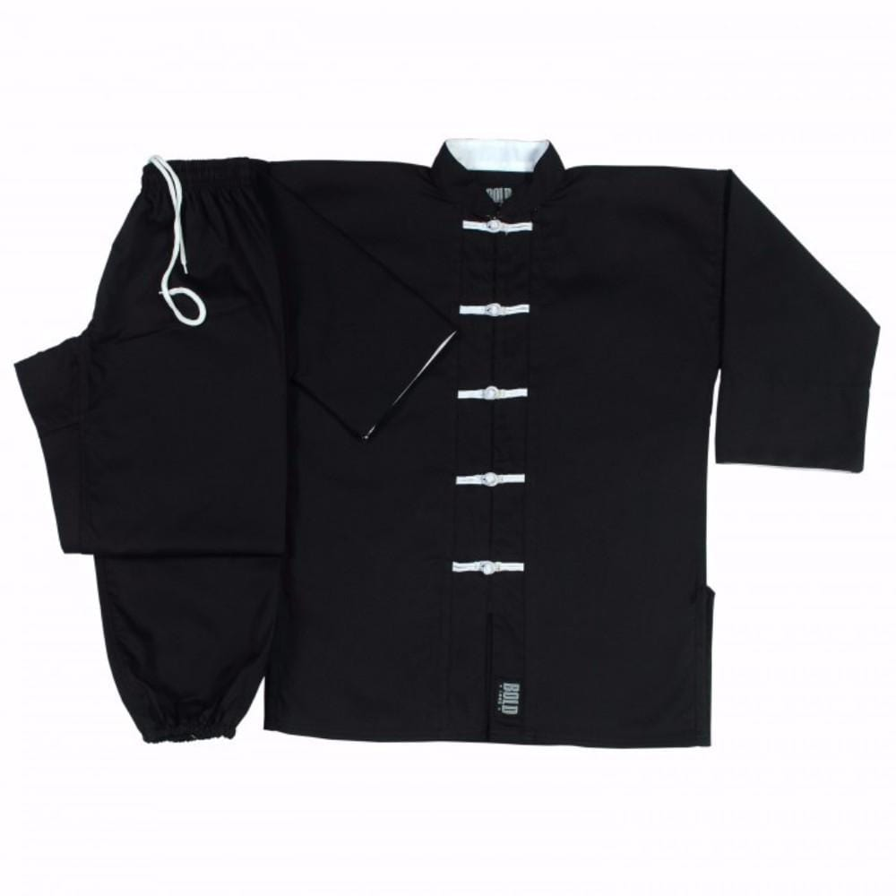 Black with White frogs kung fu uniform set  1360 - BlackBeltShop