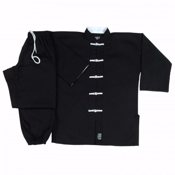 Black with White frogs kung fu uniform set All Sizes 1360