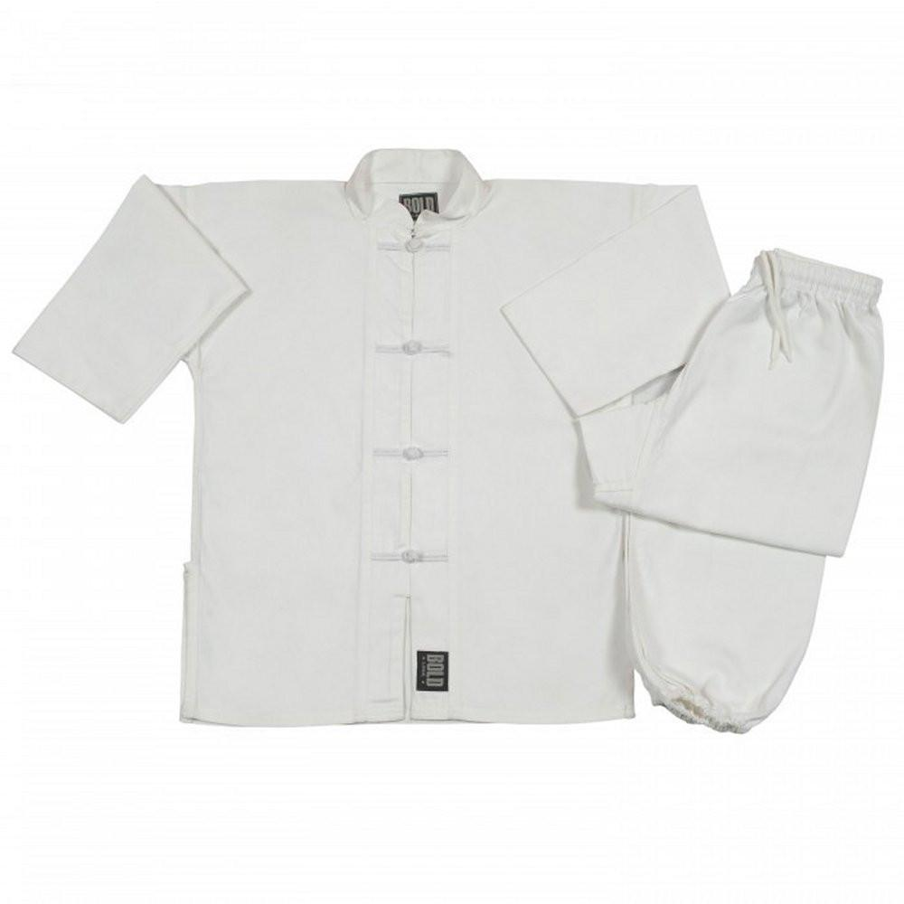 White with White frogs kung fu uniform set All Sizes 1380 - BlackBeltShop