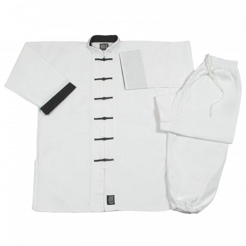 White with Black frogs kung fu uniform set All Sizes 1390