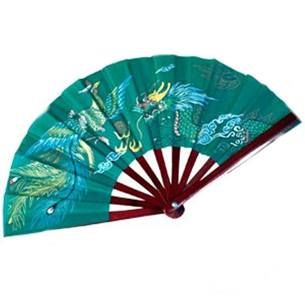 Bamboo Dragon Green Fighting Fans