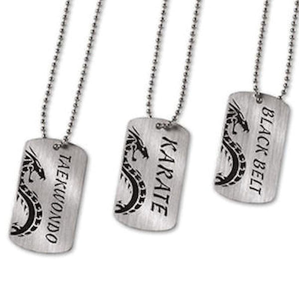 Dog Tags Necklace Karate Martial Arts Black Belt taekwondo