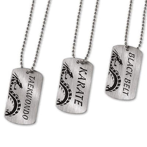 Dog Tags Necklace Karate Martial Arts Black Belt taekwondo  c132687 - BlackBeltShop