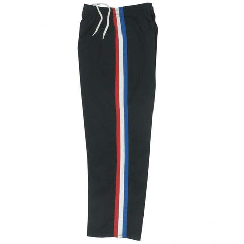 Black Team pants with red white and blue stripe by Bold b218 - BlackBeltShop