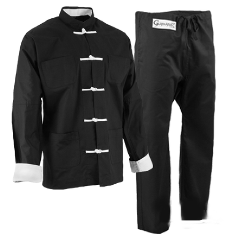 Black with White frogs kung fu uniform set  1360