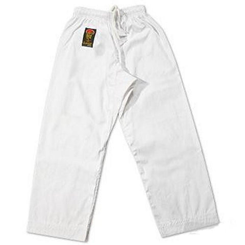 ProForce Gladiator 6 oz Karate Pants White Elastic Waist - BlackBeltShop