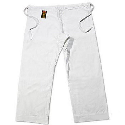 ProForce Gladiator 12 oz 100 Cotton Karate Pants - White Traditional Waist - BlackBeltShop
