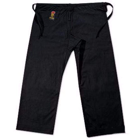 ProForce Gladiator 12 oz 100 Cotton Karate Pants - Black Traditional Waist - BlackBeltShop