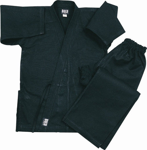 Black Heavyweight 12oz Brushed Cotton Karate Uniform by Bold 550b - BlackBeltShop