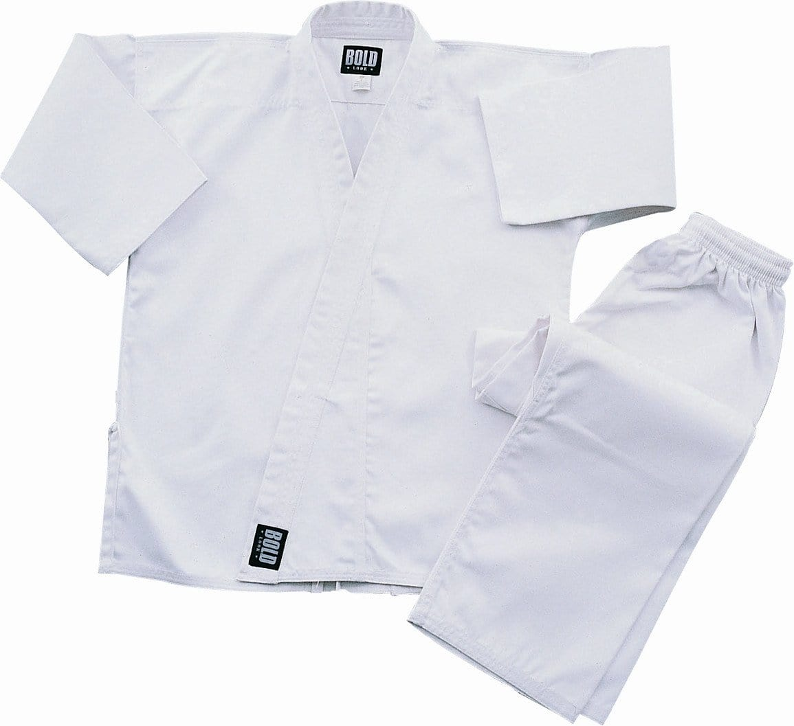 White Heavyweight 12oz Brushed Cotton Karate Uniform by Bold 550w
