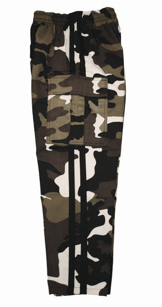 7.5 oz White Camo Middleweight Cargo Pants with Black Stripes by Bold
