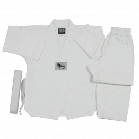 White 6 oz TKD tae kwon Do V-Neck Uniform set 6TKD - BlackBeltShop
