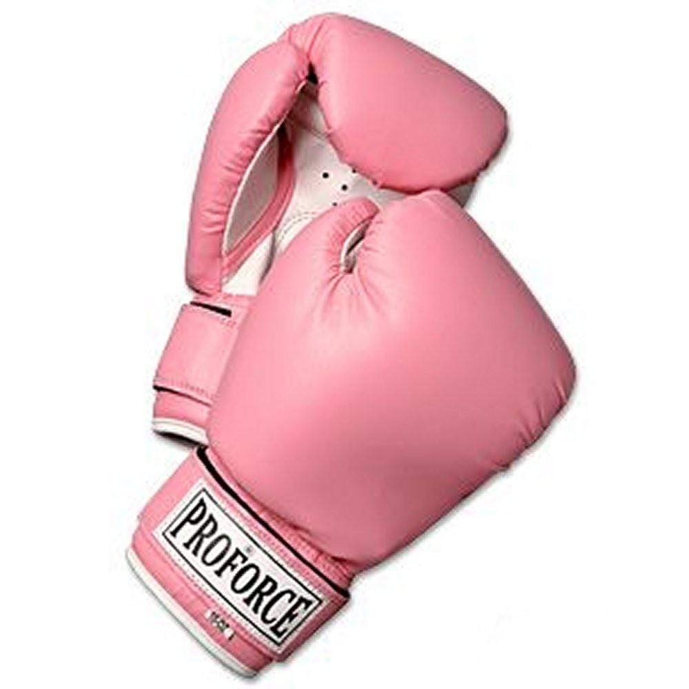 ProForce Leatherette Boxing Gloves - Pink with White Palm - BlackBeltShop