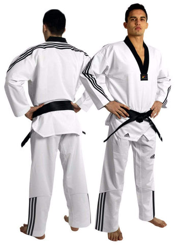 ADIDAS ADIFLEX TAEKWONDO UNIFORM WITH 3 STRIPE - BlackBeltShop