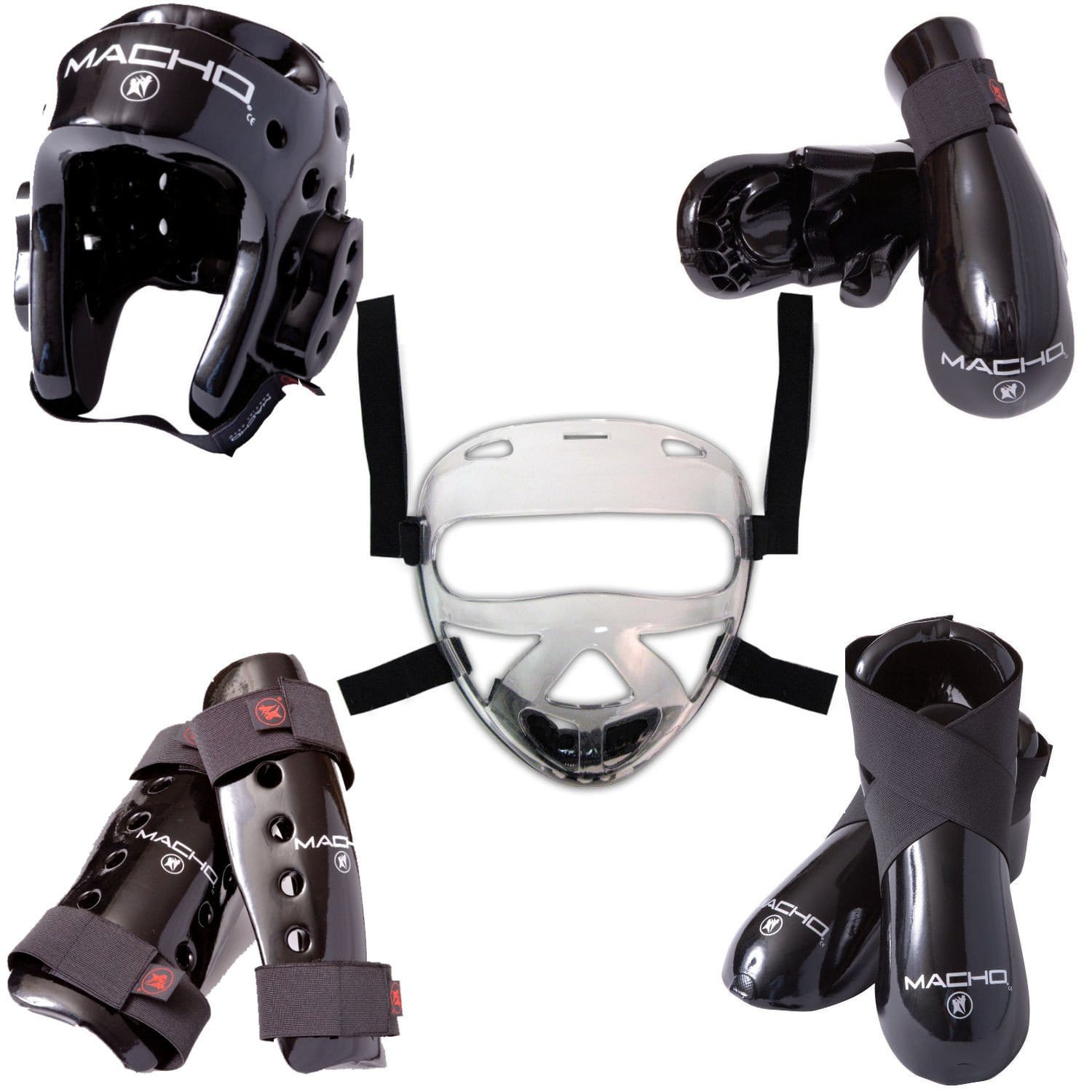 black Macho Dyna 8 piece sparring gear set with Shin Guards and Face Shield
