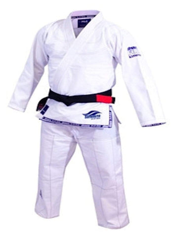 Fuji Suparaito BJJ Gi White with Navy Fuji-5700 - BlackBeltShop