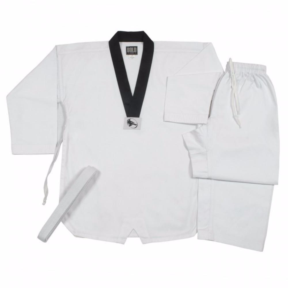 RIBBED TKD TaeKwonDo SETS White with Black V-Neck by Bold PTKD