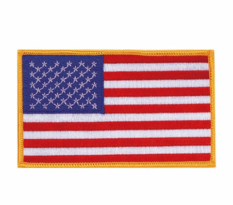 American Flag with Gold Trim Patch - BlackBeltShop