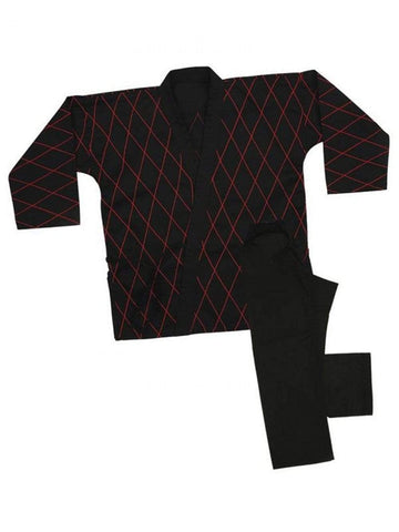 8 oz Hapkido Uniform - Black with red - BlackBeltShop