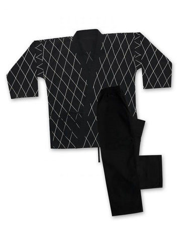 8 oz Hapkido Uniform - Black with white - BlackBeltShop