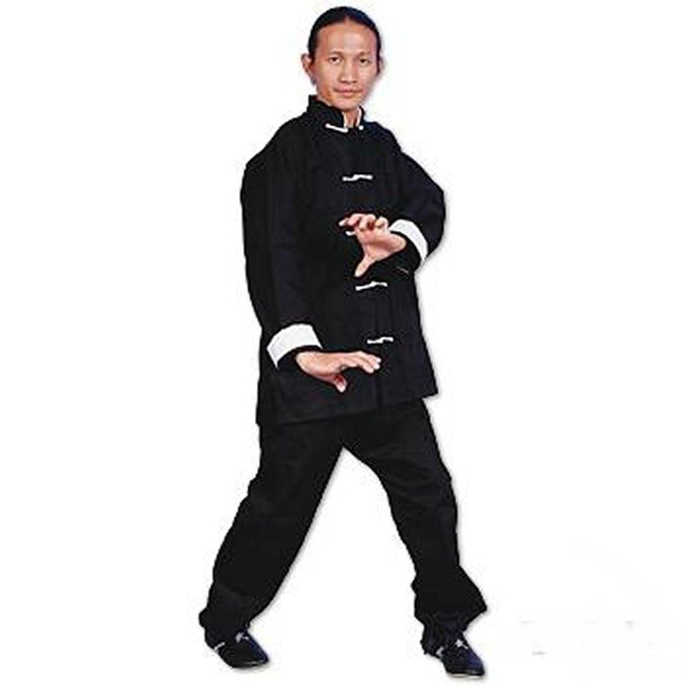 ProForce Gladiator Kung Fu Uniform  Black with White Button - BlackBeltShop