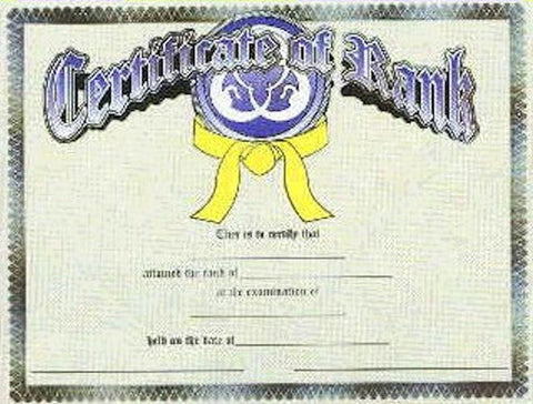 Certificate of Rank for Martial Arts Color Belts - BlackBeltShop