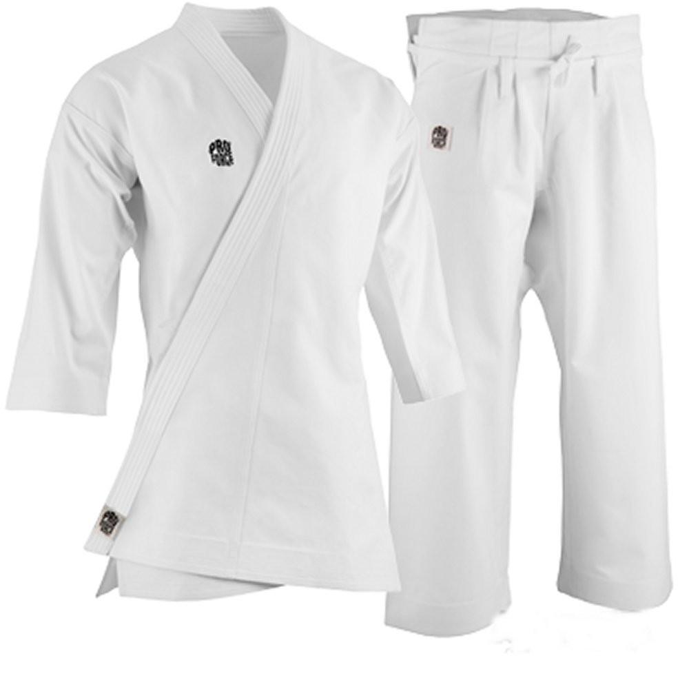 ProForce 14oz Diamond Kata Gi Traditional Drawstring - 55-45 Blend - White - BlackBeltShop