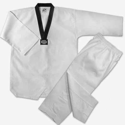 White TKD tae kwon Do Uniform set  Black v-neck TKD-BC - BlackBeltShop