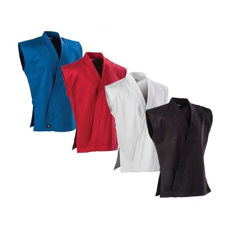 8 oz Middleweight Brushed Cotton Sleeveless Traditional Jacket - BlackBeltShop