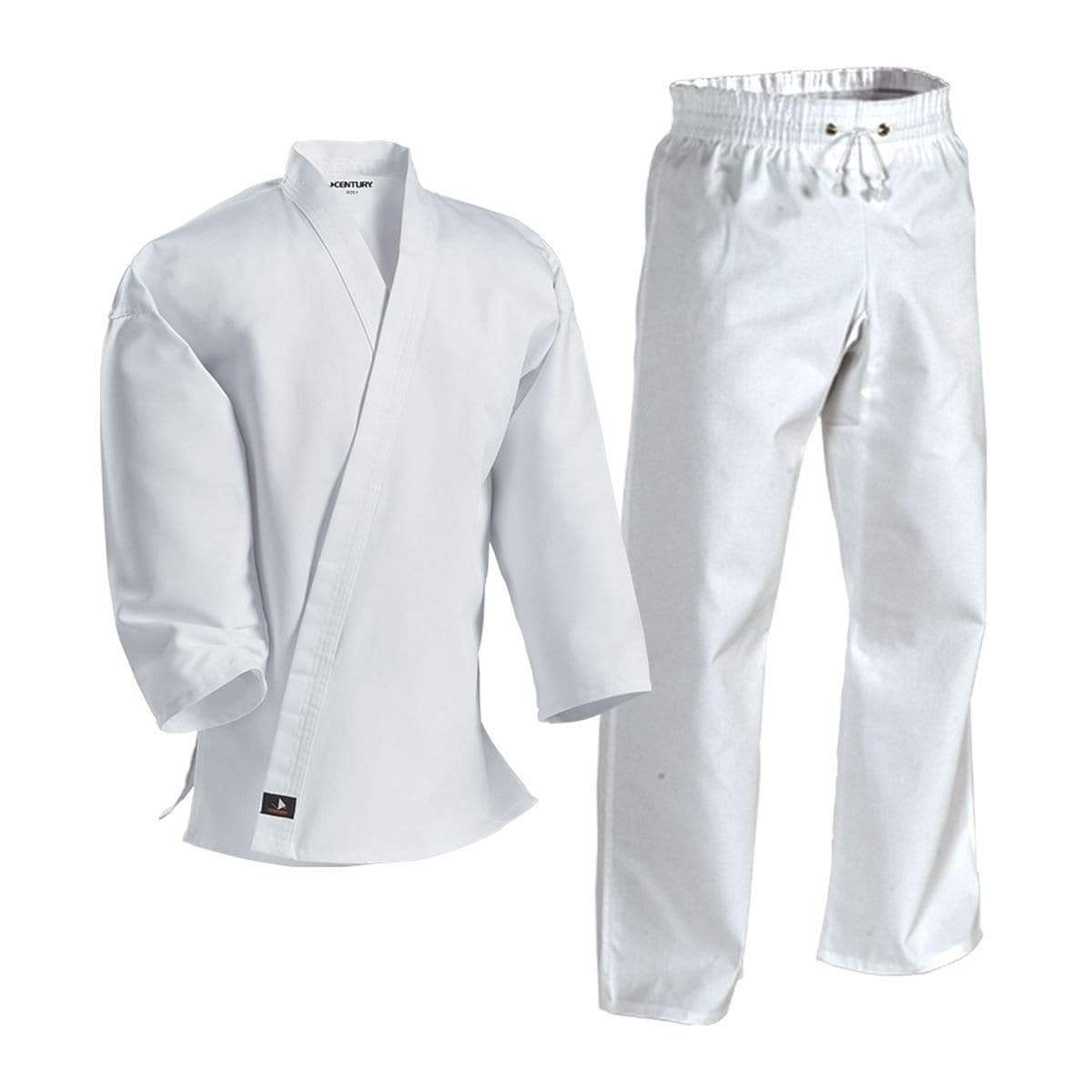 white Century Complete Middleweight Elastic Waist Poly-Cotton Uniform Karate Martial Arts  c043