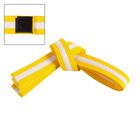 CENTURY  Adjustable White Striped Belt c01231 - BlackBeltShop