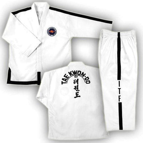 ITF White with Black Trim TaeKwonDo Uniform - BlackBeltShop
