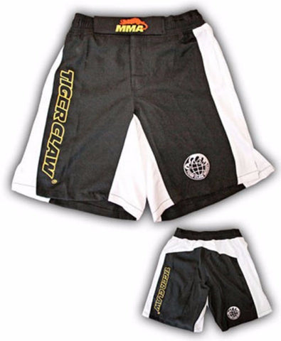 MMA Shorts by TigerClaw Black with White - BlackBeltShop