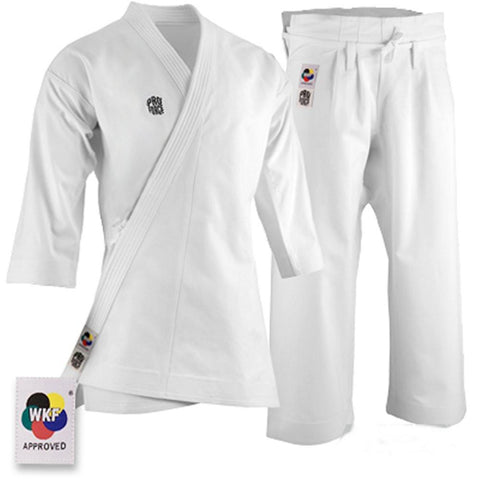 ProForce 14oz WKF Diamond Kata Gi Traditional Drawstring - 55-45 Blend - White - BlackBeltShop