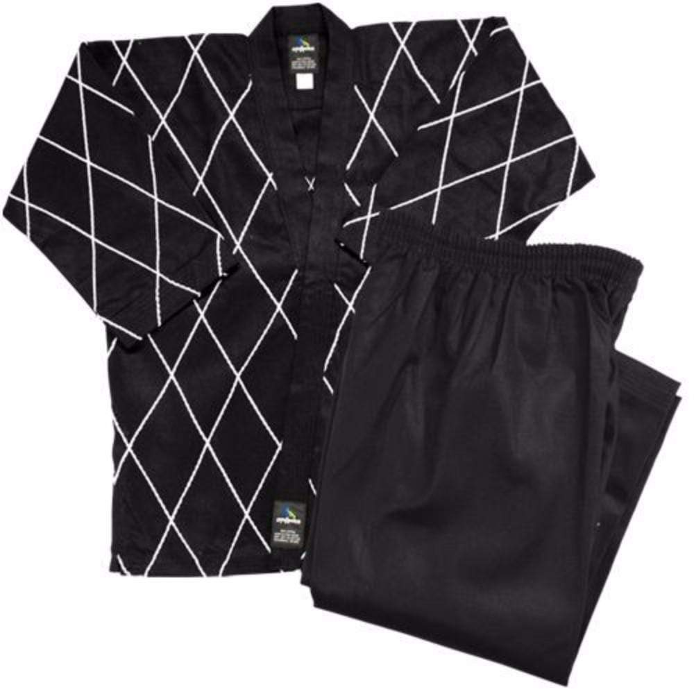 Dynamics 14 oz Hapkido Uniform - Black with White - BlackBeltShop